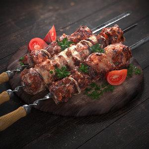 3D grilled meat skewers