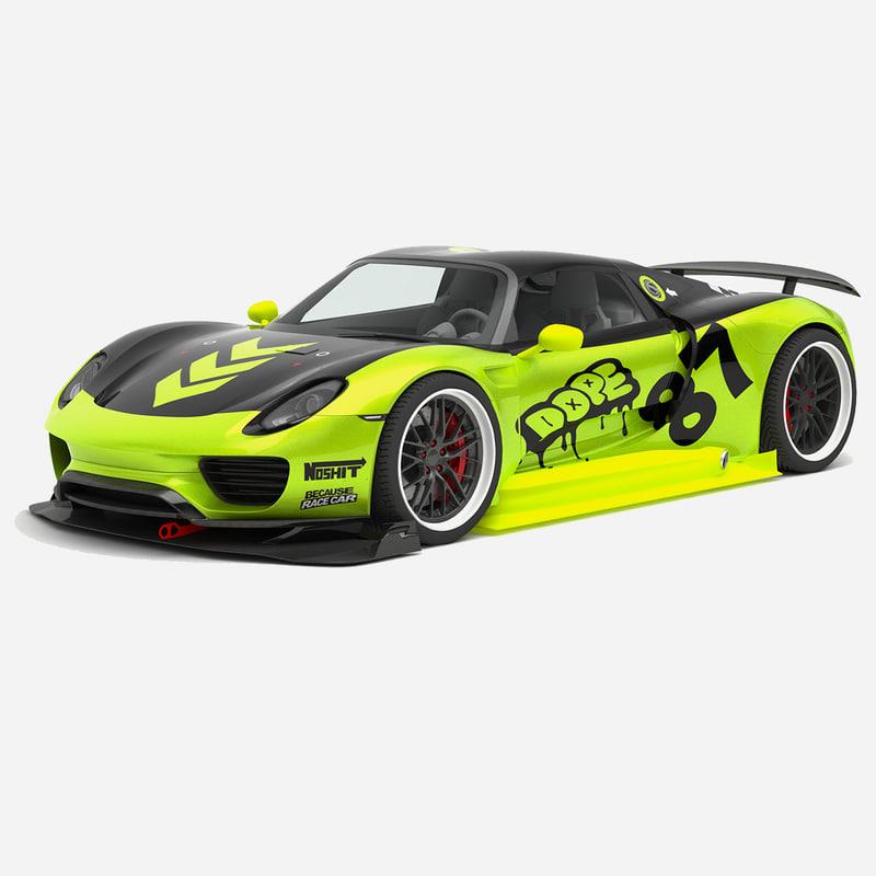 racing porsche 918 spyder 3D