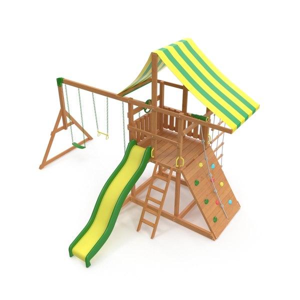 3D backyard wood play set