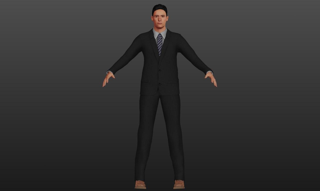 3D man business businessman model