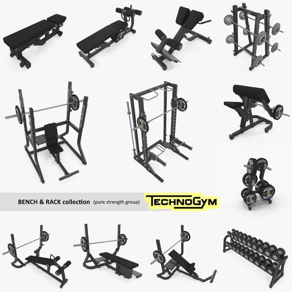3D bench rack barbell gym