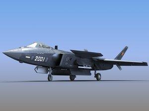 3D prototype stealth jet fighter model