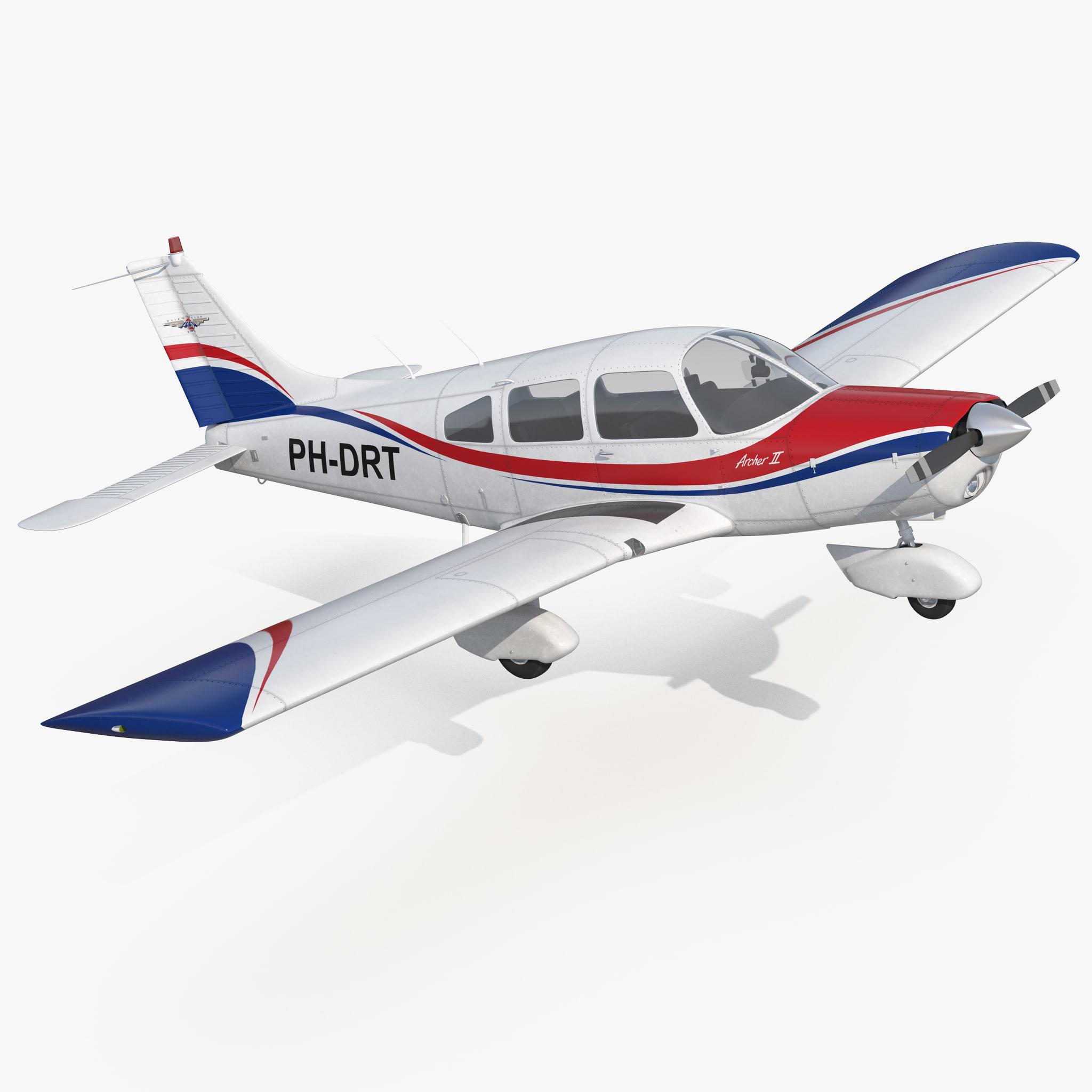 3D light aircraft piper pa-28-161