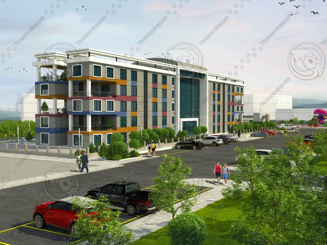 building school exterior 3D model