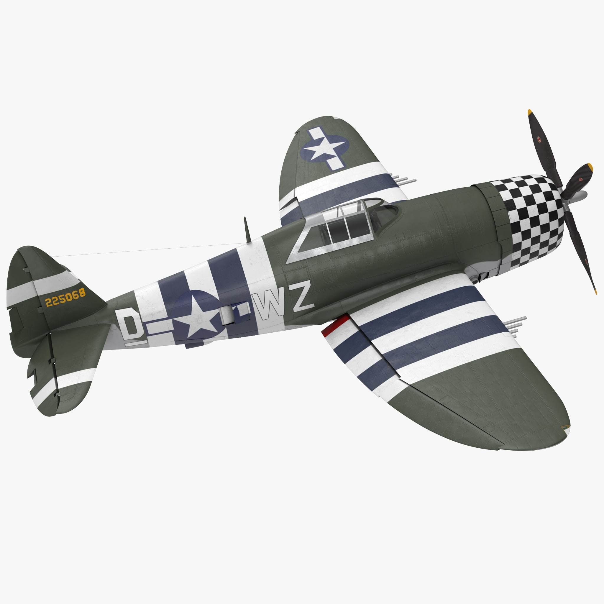 3D fighter aircraft republic p-47 model