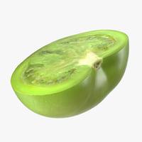 cut half green tomato model