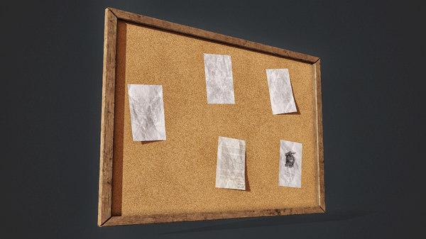vintage cork board 3D model