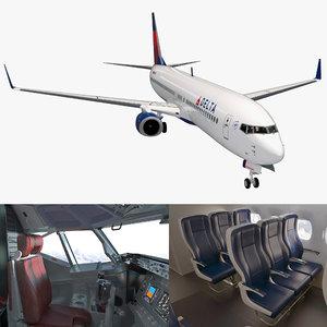 3D model boeing 737-900 interior delta