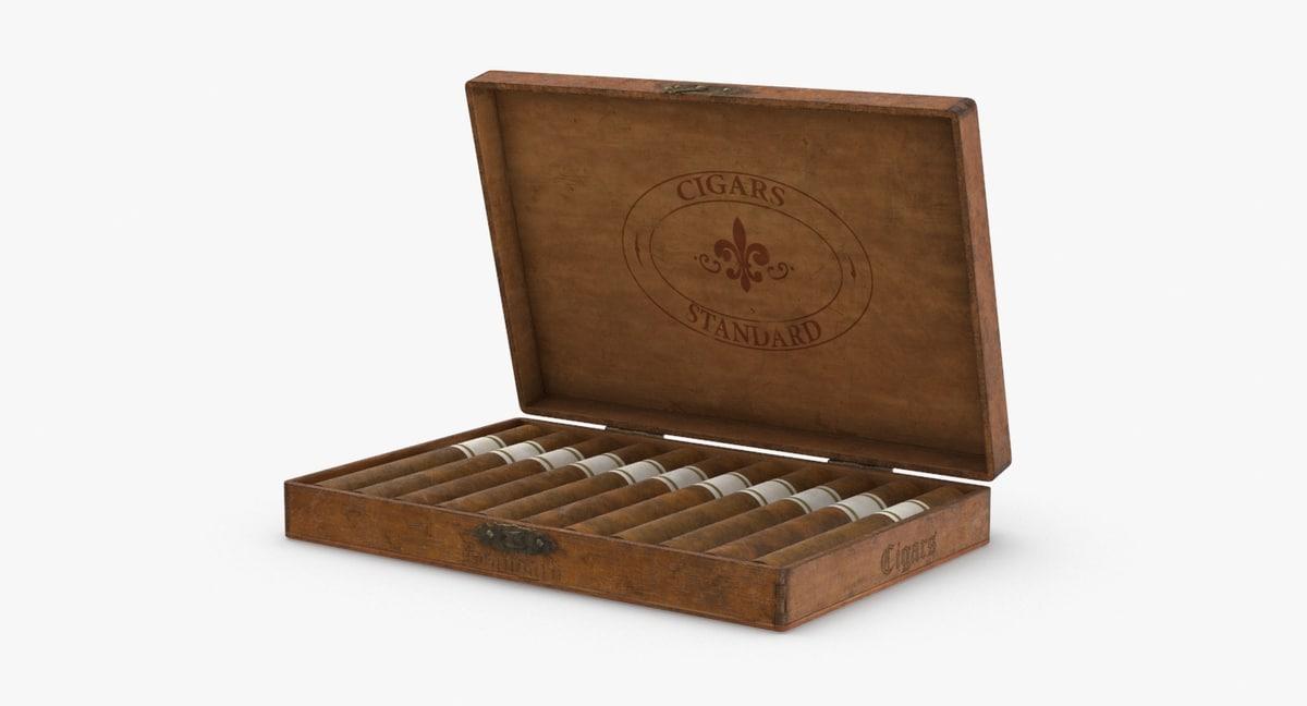 Vintage Wooden Cigar Box Open