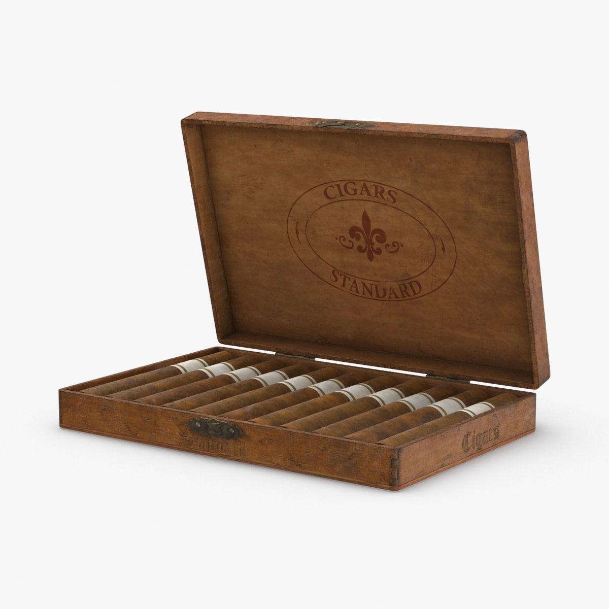 3D vintage-wooden-cigar-box---open model