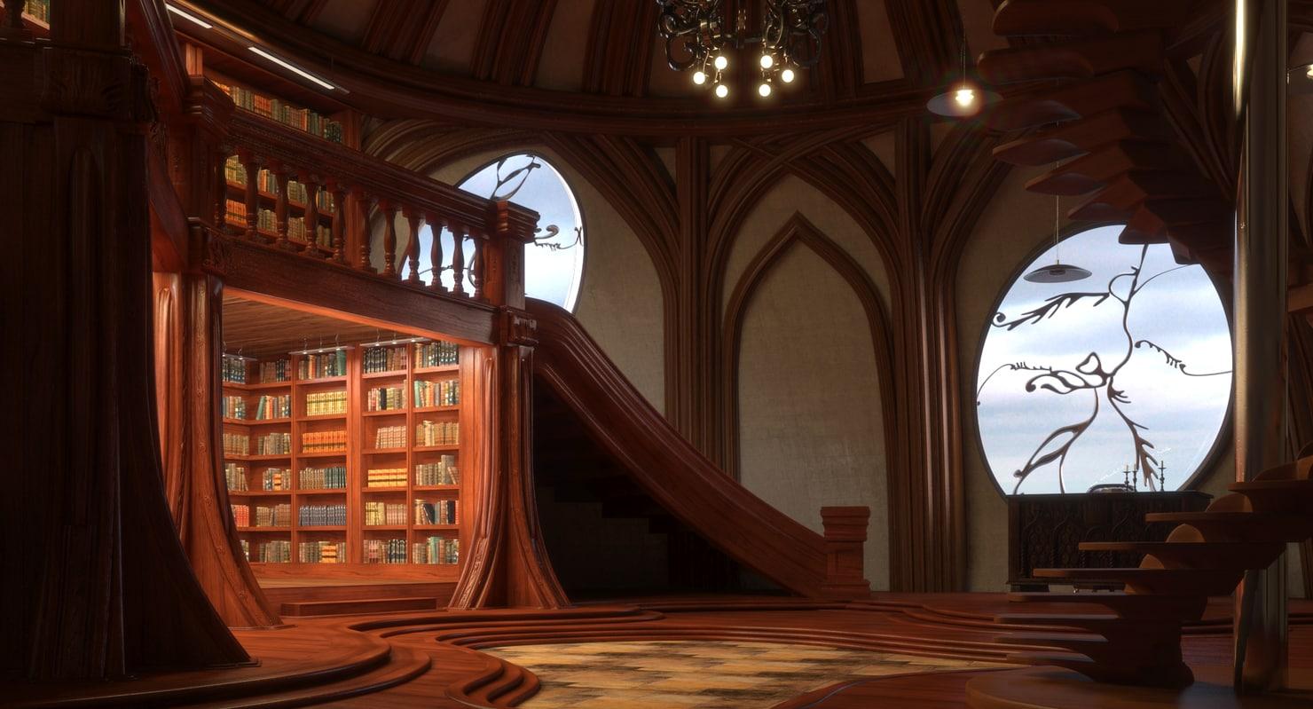 interior library model