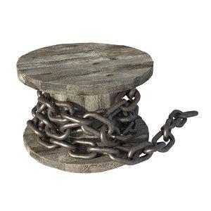 3D model photorealistic steel chain spool