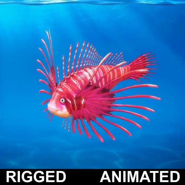 3D model cartoon rigged fish animation
