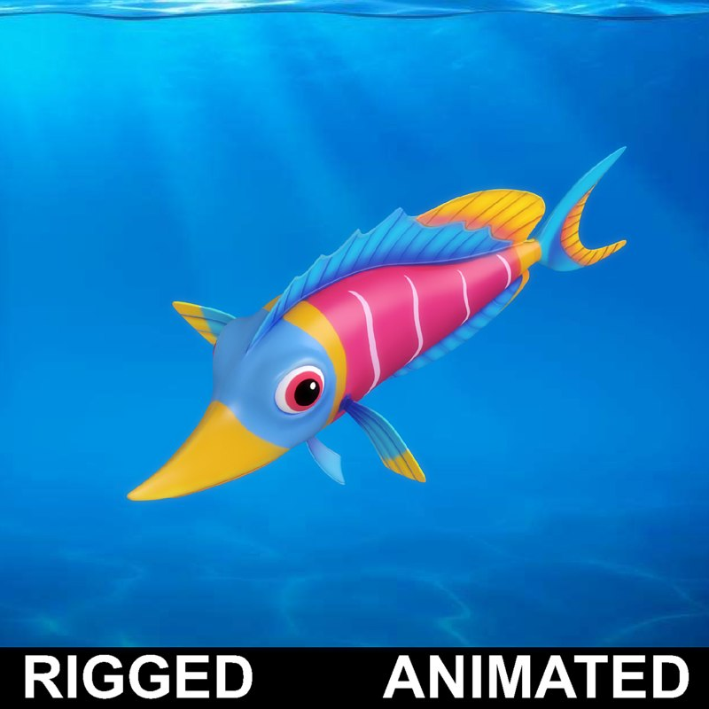 cartoon underwater scene rigged animated 3d model - 800×800