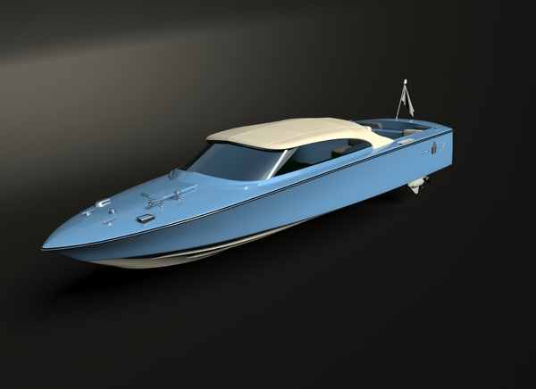 classic speedboat 3D model