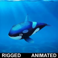 cartoon whale rigged fish 3D