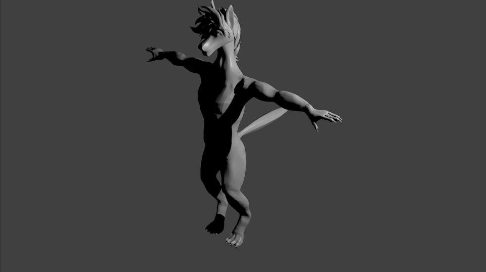 anthropomorphic wolf anthro 3D