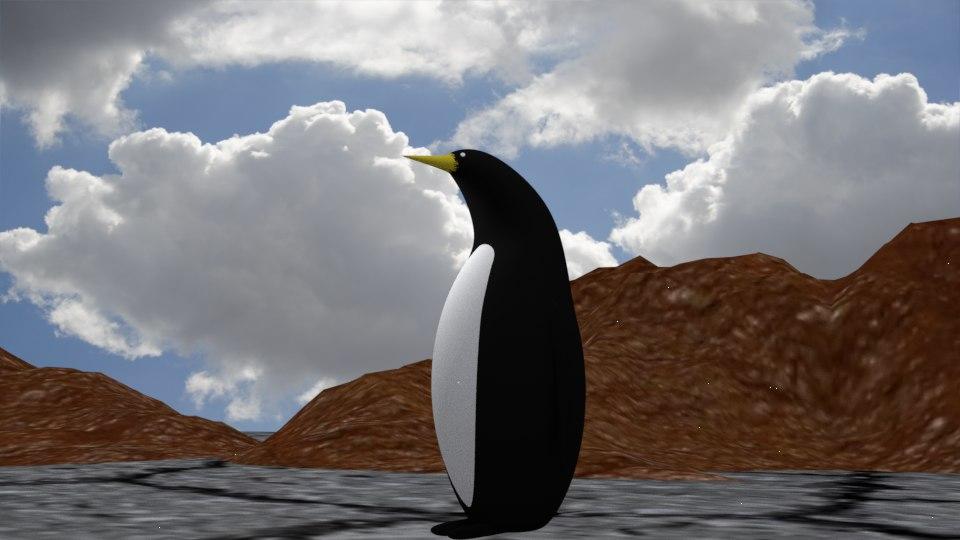 3D rigged penguin model
