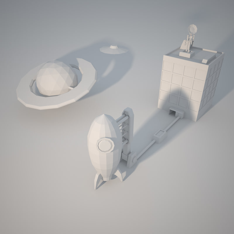 low-poly space 3D model