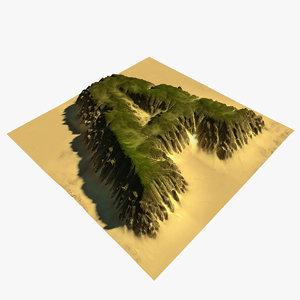 3D alphabet terrain model