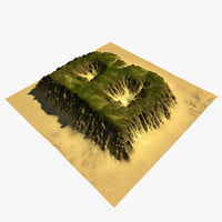 3D alphabet terrain b model