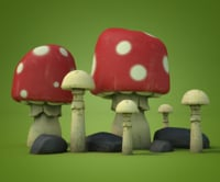 Cartoon mushrooms and stones