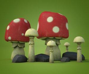 3D model mushroom cartoon stone