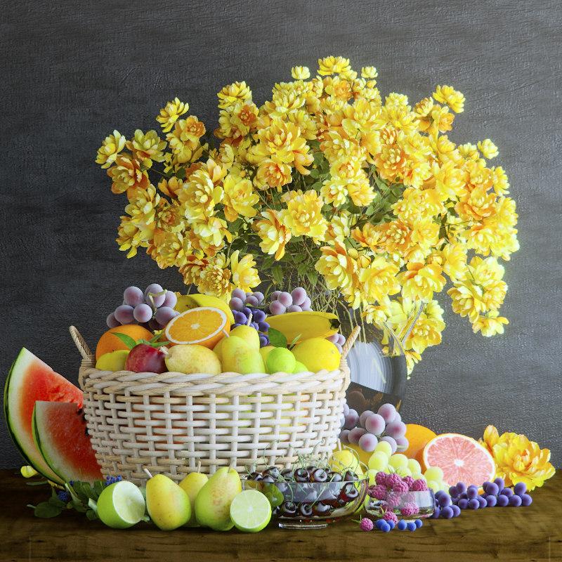 fruit flowers 3D model
