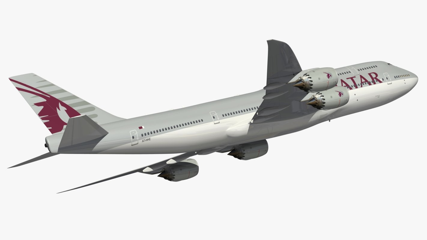 3D boeing 747-8 qatar airways