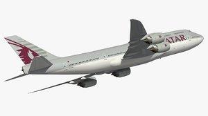 3D boeing 747-8 qatar airways