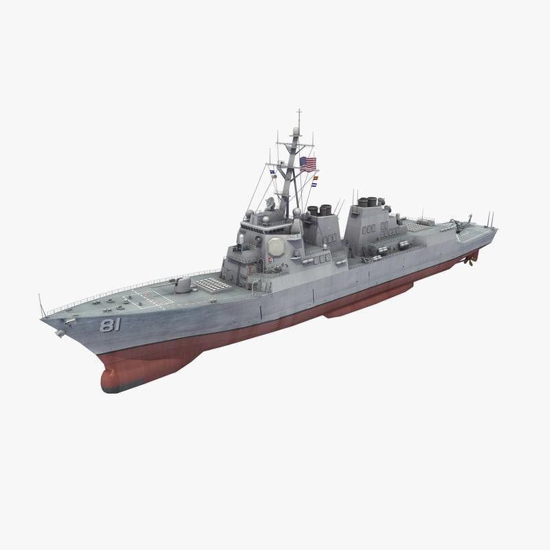 3D model arleigh burke class destroyer
