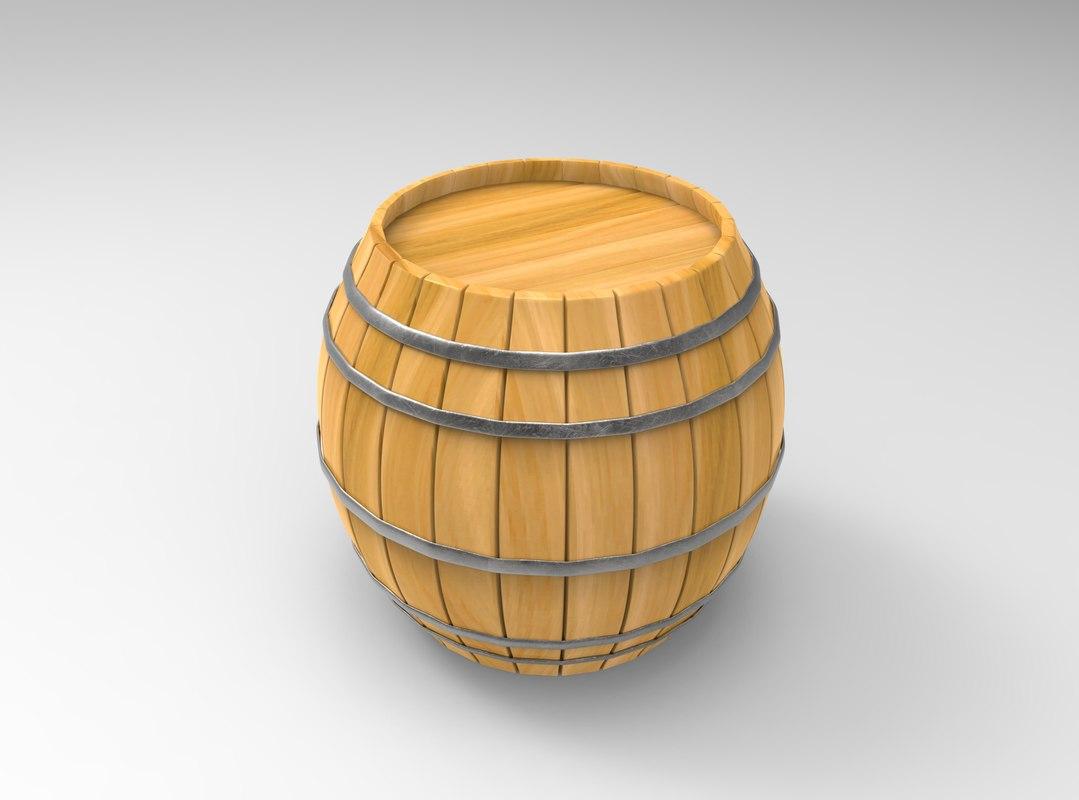 barrel cartoon 3D model