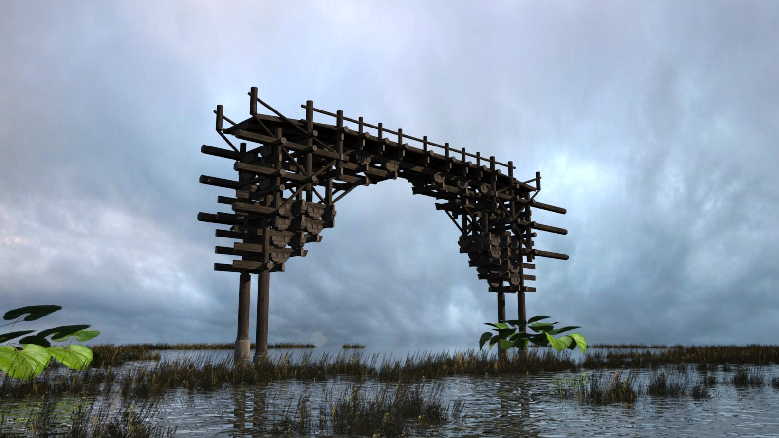 unique wooden bridge 3D model