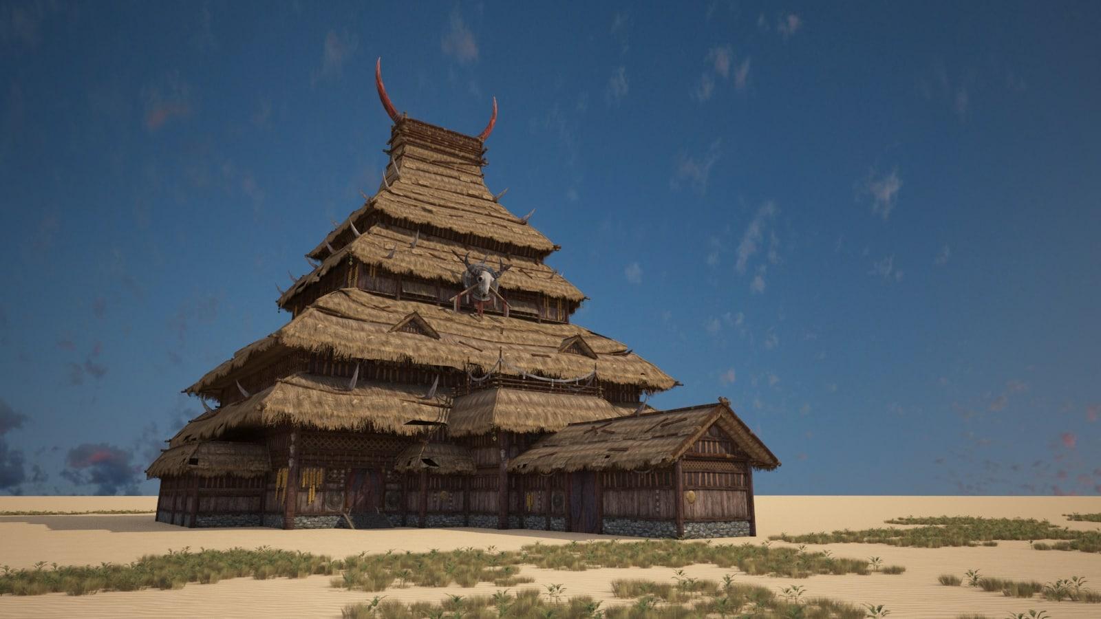 3D village thatched cottage model