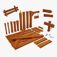 Modular Lowpoly Wood Set