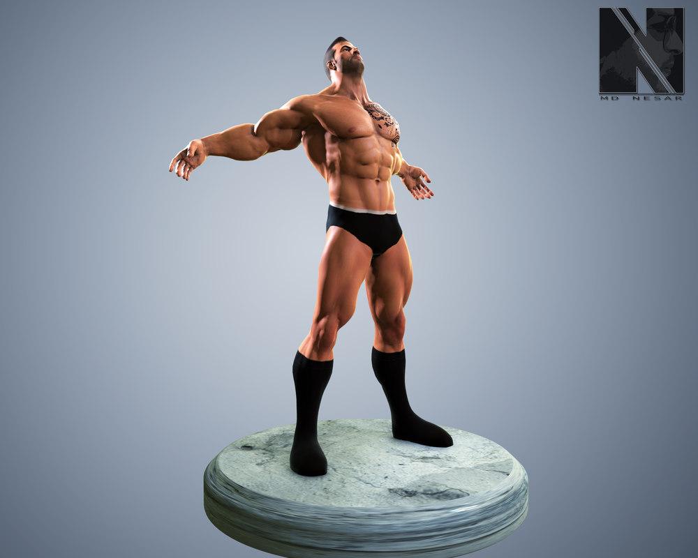 wrestler rigged 3D