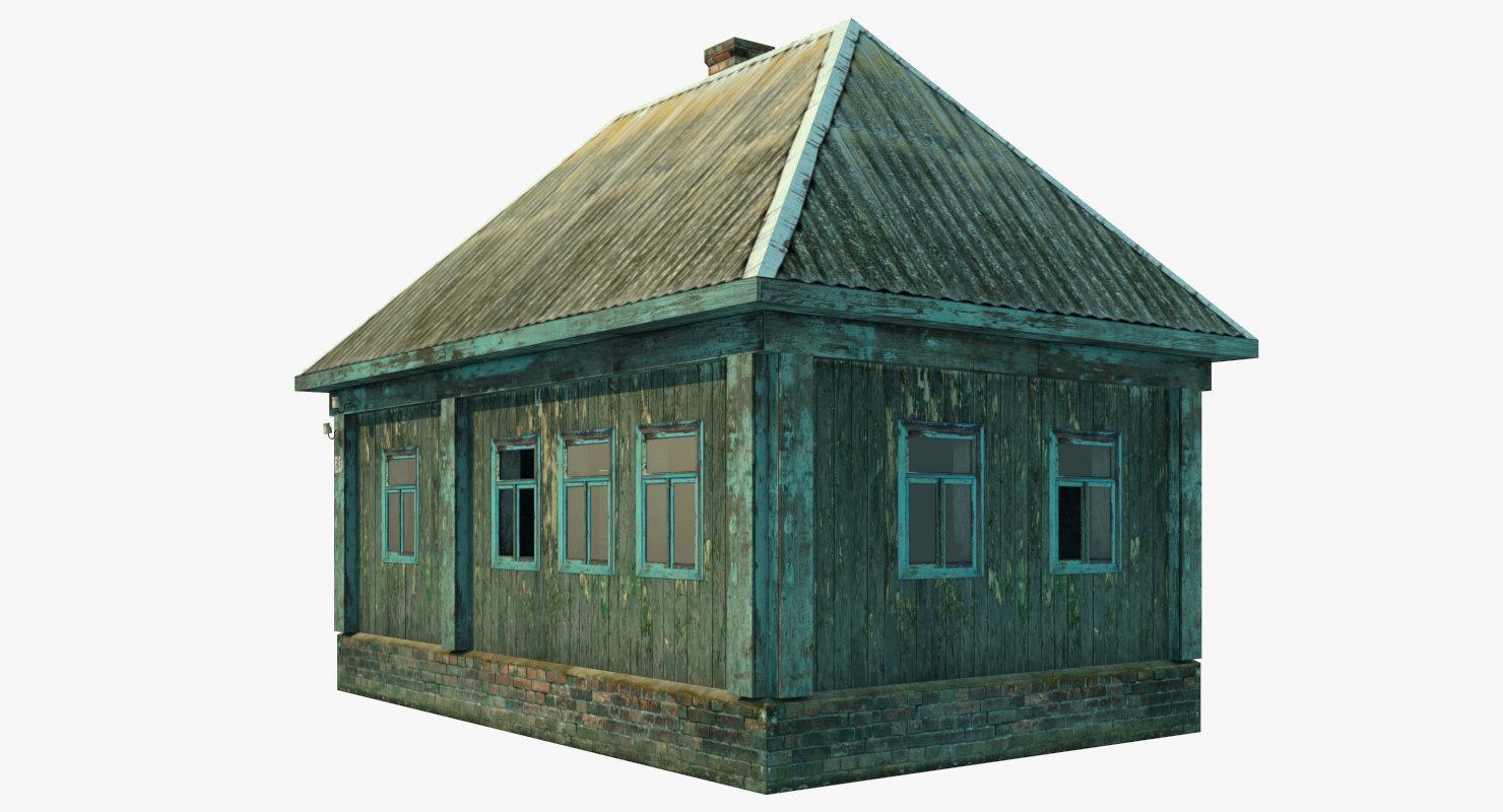 3D single abandoned wooden house model