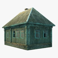 3D single abandoned wooden house model