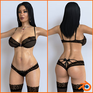 3D female character girl blender model
