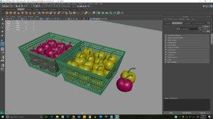 3D cherries yellow model