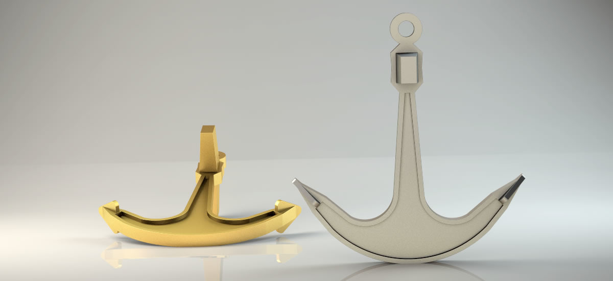 boat anchor pendant men 3D model