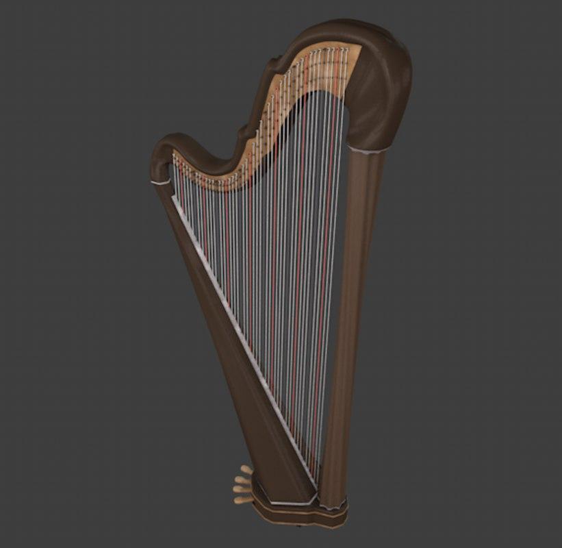 harp strings 3D