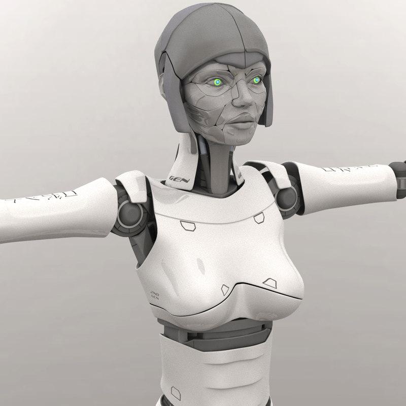 3D humanoid female robot