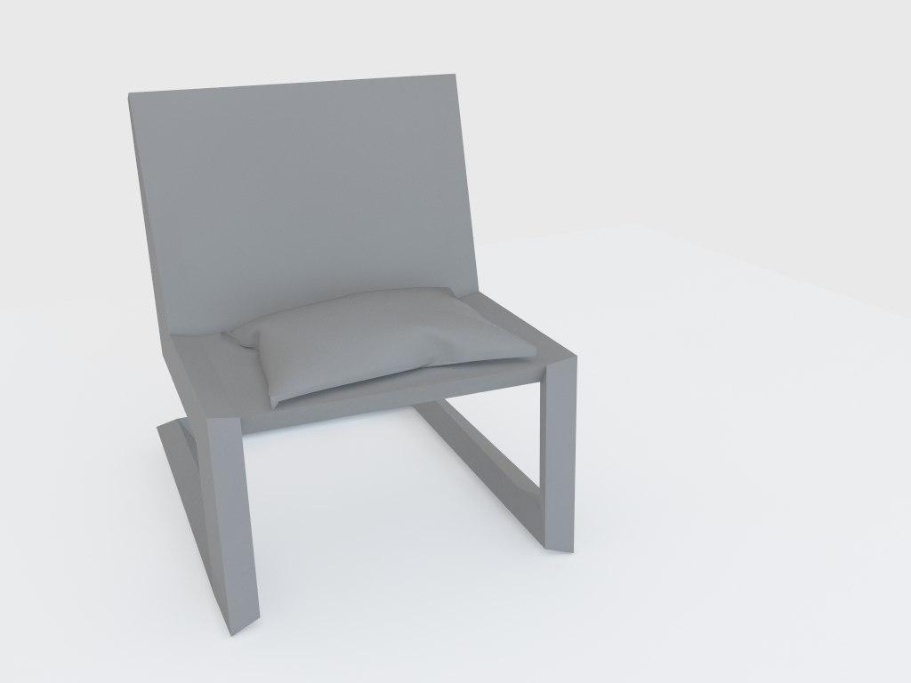 3D black plastic chair
