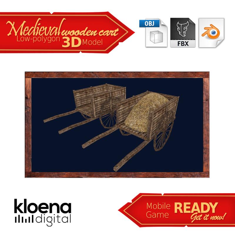 medieval wooden cart 3D