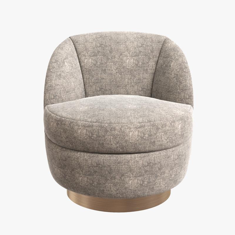 milo baughman swivel chair 3D