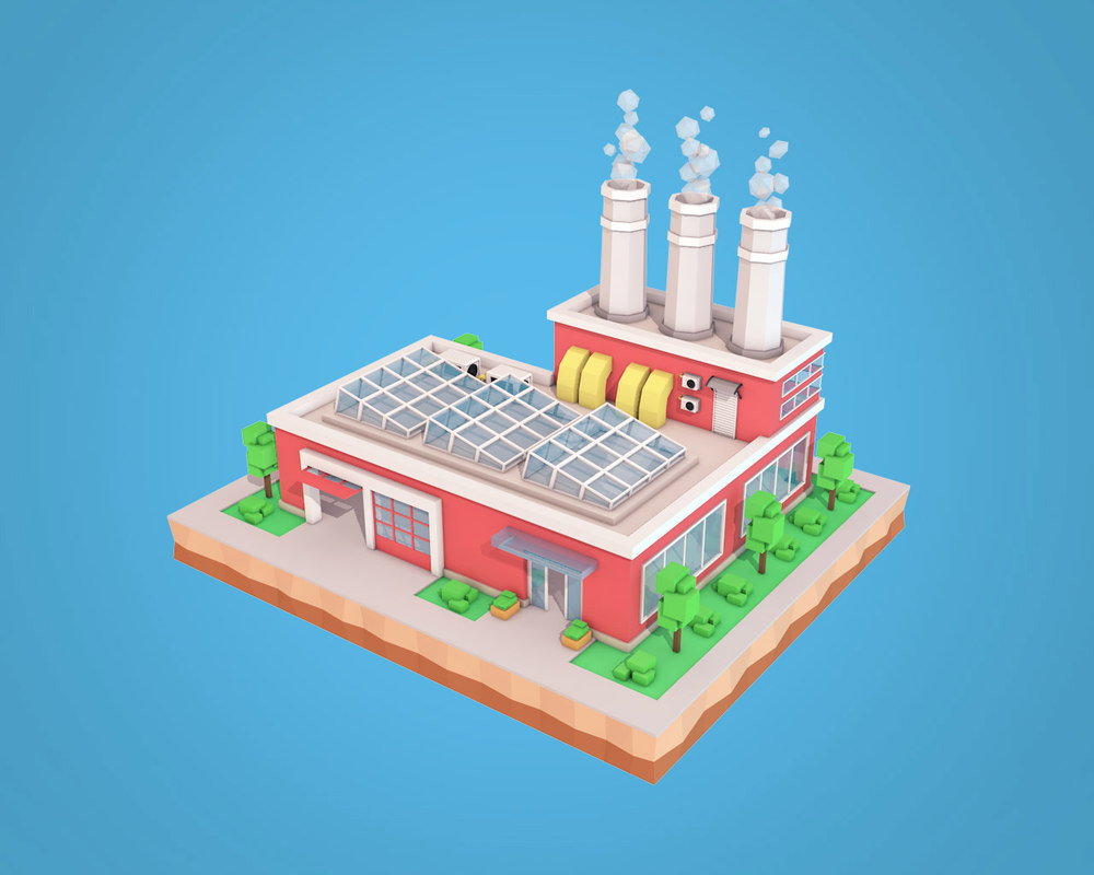 smoke factory cartoon plant model