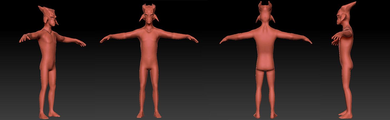 3D sculpting base alien character model