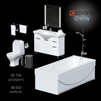 set fast furnishing bathroom 3D