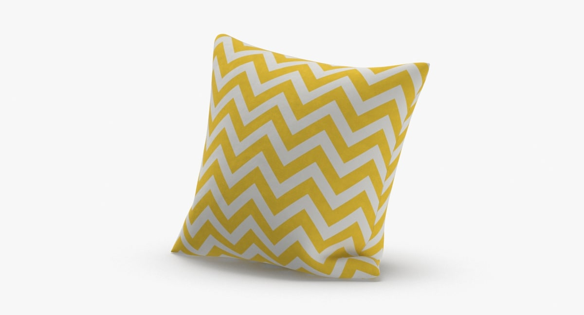 throw-pillow-02---yellow-striped 3D model